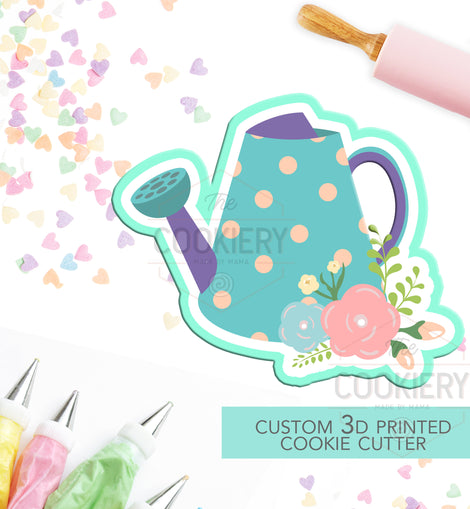 Watering Can with Flowers Cookie Cutter, Gardening Cookie Cutter - 3D Printed Cookie Cutter - TCK58103