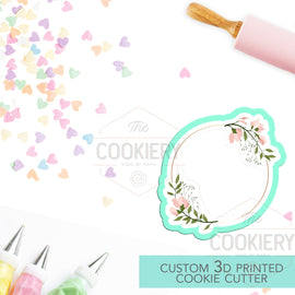 Circle Floral Plaque Cookie Cutter - Wedding Floral Cookie Cutter Plaque - 3D Printed Cookie Cutter - TCK36131