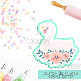 Swan Princess Cookie Cutter -  Swan with Flowers Cookie Cutter - 3D Printed Cookie Cutter - TCK34117