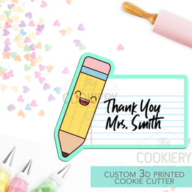 Teacher Pencil Plaque Cookie Cutter -Pencil Name Plaque - Back to School - 3D Printed Cookie Cutter - TCK52108