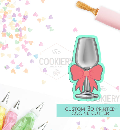 Wine Glass with Bow  Cookie Cutter - Champagne Glass with Bow Cookie Cutter  - 3D Printed Cookie Cutter - TCK45106