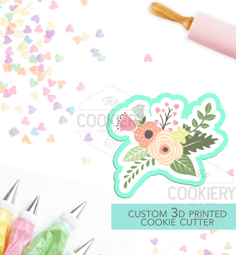 Flowers Cookie Cutter - Flowers and Leaves Cutter - Floral Cluster Cookie Cutter - 3D Printed Cookie Cutter - TCK48114