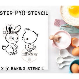 Easter Bunny and Chick PYO Stencil - Paint your Own Stencil - Cookie Stencil - Airbrush Stencil - Baking Stencil