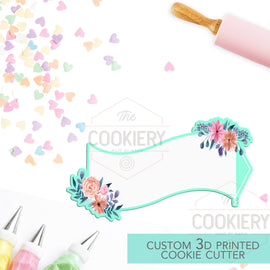 Banner for Airplane Cookie Cutter - Floral Airplane Banner - Propeller Plane Banner 3D Printed Cookie Cutter - TCK27106