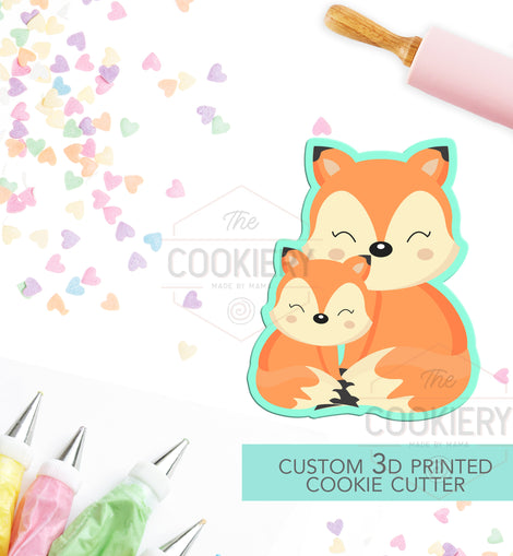 Daddy Fox and Baby Fox Cookie Cutter - Father's Day Cookie Cutter - Fox Family Cookie -  3D Printed Cookie Cutter - TCK19104