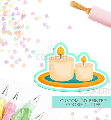 Spa Candles Cookie Cutter - Candles Cookie cutter -Spa Cutter - Pajama Party Cookies - 3D Printed Cookie Cutter - TCK72106