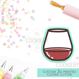 Stemless Wine Glass Cookie Cutter - Wine Glass Cookie Cutter - 3D Printed Cookie Cutter - TCK22131