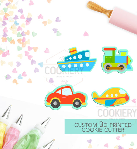 Mini Cars, Plane and Trains Cookie Cutter Set - Mini Cookie Cutters - 3D Printed Cookie Cutter - TCK21115 - Set of 4