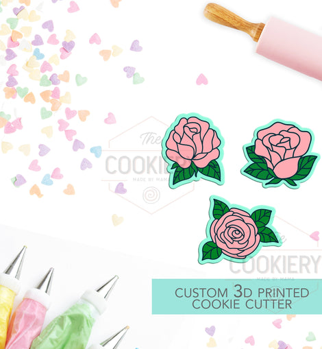 Mini Roses  Cookie Cutter Set - Mini Cookie Cutters - 3D Printed Cookie Cutter - TCK21121 - Set of 3