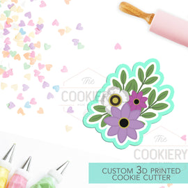 Flowers Cookie Cutter - Flowers and Leaves Cutter - Floral Cluster Cookie Cutter - 3D Printed Cookie Cutter - TCK48115