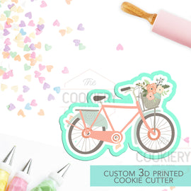 Bicycle with Basket of Flowers Cookie Cutter - Bicycle Cutter - 3D Printed Cookie Cutter - TCK27100