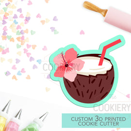 Floral Coconut Cocktail Cookie Cutter - Summer Drink Cutter - Summer BBQ - 3D Printed Cookie Cutter - TCK22151