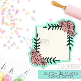 Floral Square Plaque Cookie Cutter - Floral Plaque Cookie Cutter - 3D Printed Cookie Cutter - TCK36146