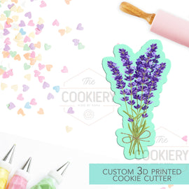 Lavender Bouquet Cookie Cutter, Sprig of Lavender Flowers Cookie Cutter - 3D Printed Cookie Cutter - TCK48138