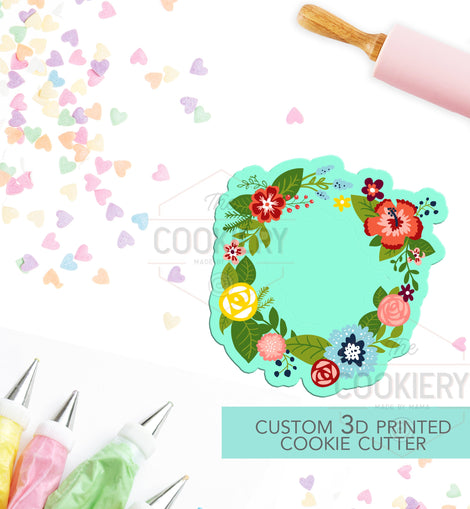 Floral Wreath Cookie Cutter - Flowers and Leaves Cutter - Floral Cluster Cookie Cutter - 3D Printed Cookie Cutter - TCK48120