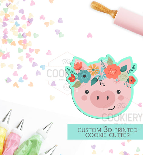Pig with Flowers Cookie Cutter -  Pig with Flowers -  Cookie Cutter - 3D Printed Cookie Cutter - TCK34148
