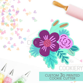 Floral Cluster Cookie Cutter - Flowers and Leaves Cutter - Floral Cluster Cookie Cutter - 3D Printed Cookie Cutter - TCK48144