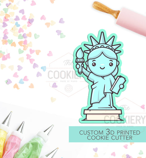 Statue of Liberty Cookie Cutter - Lady Liberty Cookie Cutter - Independence Day -  Fourth of July 3D Printed Cookie Cutter - TCK74122