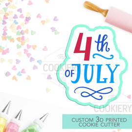 4th of July Cookie Cutter -  Fourth of July Lettering Cookie Cutter - Stencil and Cutter Option - 3D Printed Cookie Cutter - TCK23133