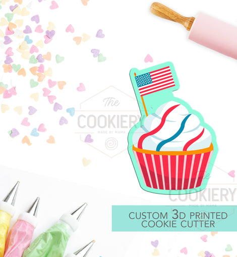 Cupcake with Flag Cookie Cutter - Fourth of July 3D Printed Cookie Cutter - TCK74126