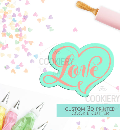 Love Cookie Cutter, Bridal Shower Cookie, Engagement Cookie - Stencil and Cutter - 3D Printed Cookie Cutter - TCK23145