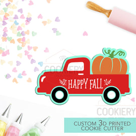 Vintage Pickup Truck with Pumpkin Cookie Cutter - Pumpkin Autumn Cutter - Truck Cookie Cutter - 3D Printed Cookie Cutter - TCK82106