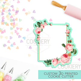 Floral Rectangle Plaque Cookie Cutter - Floral Plaque Cookie Cutter - 3D Printed Cookie Cutter - TCK36147