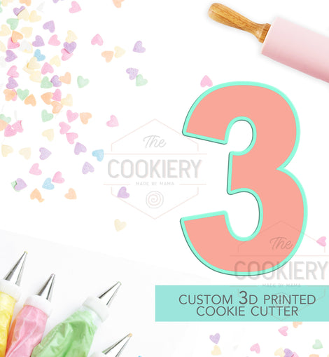 Block Number Three Cookie Cutter - Number 3 Cookie Cutter -  TCK46146
