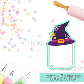Witch Hat Plaque Cookie Cutter - Halloween Name Plaque Cutter - Cookie Cutter -  3D Printed Cookie Cutter - TCK62142