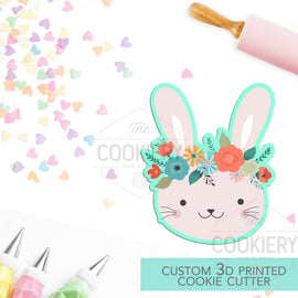 Bunny with Flowers Cookie Cutter -  Rabbit with Flowers -  Cookie Cutter - 3D Printed Cookie Cutter - TCK34147