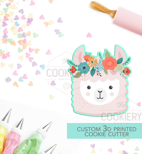 Llama with Flowers Cookie Cutter -  Llama with Flowers -  Cookie Cutter - 3D Printed Cookie Cutter - TCK34150