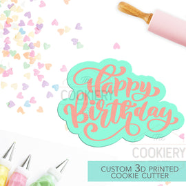 Happy Birthday Cookie Cutter, Birthday Cookie  - 3D Printed Cookie Cutter - Stencil and Cutter TCK23135