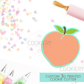 Peach Cookie Cutter - Peach Fruit with Leaves Cookie Cutter - 3D Printed Cookie Cutter - TCK22172