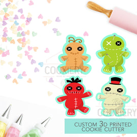 Mini Halloween Voodoo Dolls Cookie Cutters - Mini Scary Cutters - 3D Printed Cookie Cutter - TCK21141 - Set of 4
