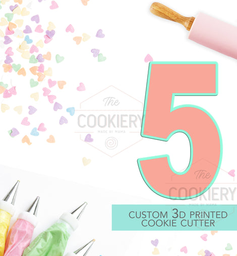 Block Number Five Cookie Cutter - Number 5 Cookie Cutter -  TCK46148