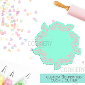 Floral Leaf Wreath Cookie Cutter - Flowers and Leaves Cutter - Floral Cluster Cookie Cutter - 3D Printed Cookie Cutter - TCK48150