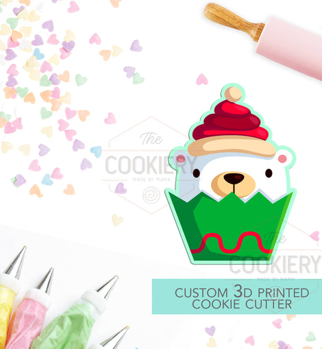 Christmas Polar Bear Cupcake Cookie Cutter - Christmas Bear Cookie Cutter - Winter Christmas Cutter -   3D Printed Cookie Cutter - TCK84155