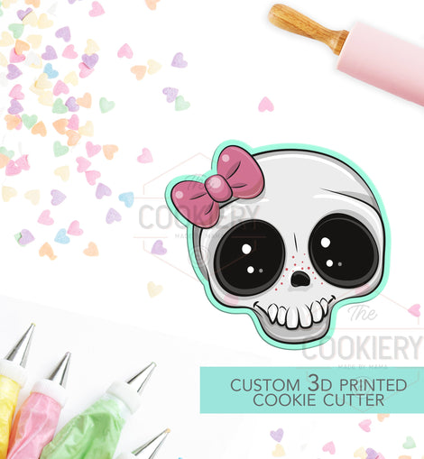 Girly Skull with Bow Cookie Cutter - Halloween Skull - Halloween Cookie Cutter -  Pirate Ship - 3D Printed Cookie Cutter - TCK62151