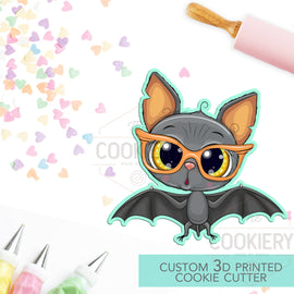 Cute Hipster Halloween Bat - Halloween Bat - Cookie Cutter -  3D Printed Cookie Cutter - TCK62154