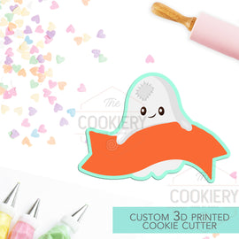 Ghost with Banner Cookie Cutter - Halloween Ghost Name Plaque Cutter - Cookie Cutter -  3D Printed Cookie Cutter - TCK62160