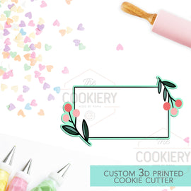 Floral Rectangle Cookie Cutter - Vintage Frame Cutter - 3D Printed Cookie Cutter - TCK36174