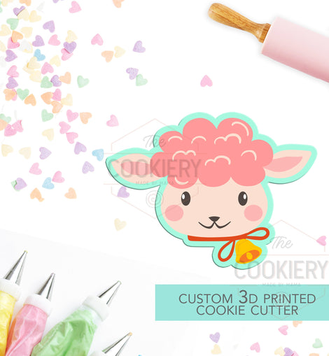 Easter Lamb Cookie Cutter -  Cute Lamb Face Cookie Cutter, 3D Printed Cookie Cutter - TCK12134