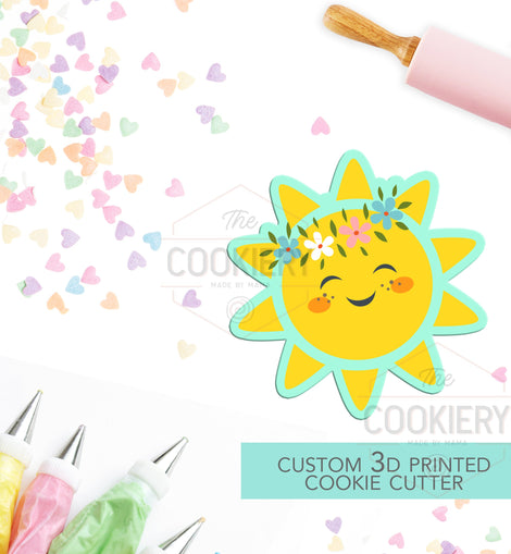 Sun with Floral Crown Cookie Cutter -  Cute Sun Cookie Cutter - Spring and Summer Cookie - 3D Printed Cookie Cutter - TCK12138