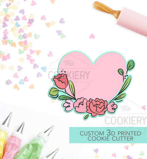 Heart Floral Plaque Cookie Cutter - Valentine's Day Cookie Cutter - 3D Printed Cookie Cutter - TCK44130