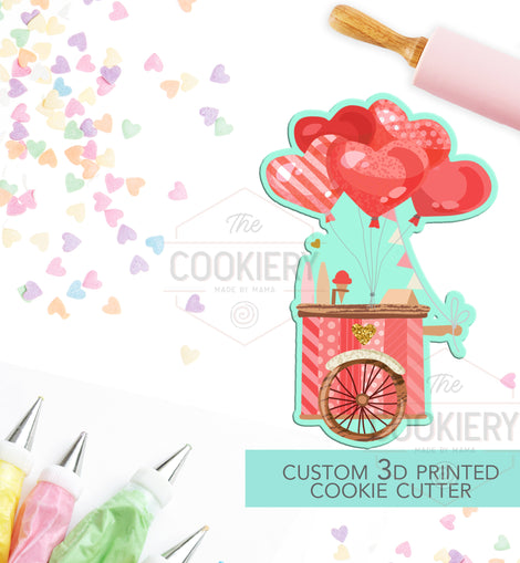 Ice Cream Cart Cookie Cutter - Valentine's Day Cookie Cutter - 3D Printed Cookie Cutter - TCK44134