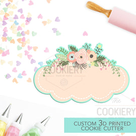 Floral Plaque Cookie Cutter - Vintage Frame Cutter - 3D Printed Cookie Cutter - TCK36178