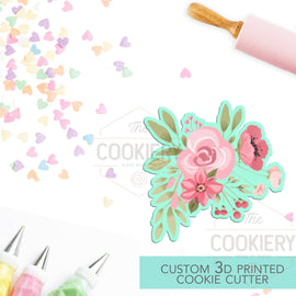 Spring Floral Cluster Cookie Cutter, Gardening Cookie Cutter - 3D Printed Cookie Cutter - TCK48169
