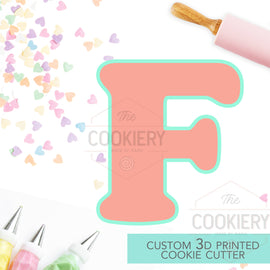 Alphabet Letter Cookie Cutter - Block Letter Cookie Cutter - Letter F Cookie Cutter - 3D Printer Cutter - TCK46161