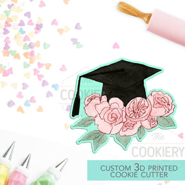 Floral Graduation Cap Cookie Cutter - Graduation Cap Cutter  - 3D Printed Cookie Cutter - TCK52122