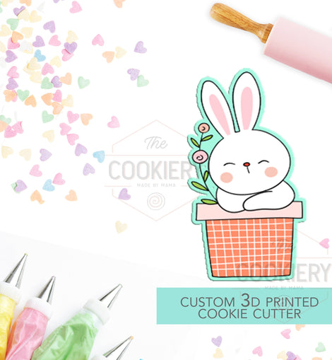 Easter Bunny Flower Pot - Easter Cookie Cutter - 3D Printed Cookie Cutter - TCK13106